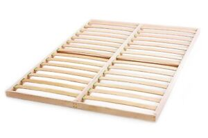 Slatted bed base 140 x 190cm Beech Wood Double Orthopedic Easy Assembly Antique