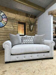 Alexander James Sumptuous 2 str beige cream chenille sofa high back silver studs
