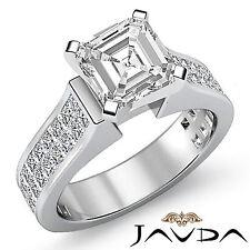 Asscher Diamante Invisible Facinating Anillo de Compromiso GIA i SI1 Platino