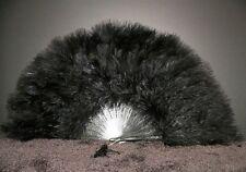 "MARABOU FEATHER FAN - BLACK Feathers 12"" x 20"" Sexy Fan/Craft/Dance/Art/Costume"