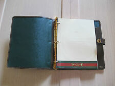 70's new! VINTAGE RARE GUCCI 3-RING NOTEBOOK BROWN LEATHER RED GREEN STRIPE+ ppr
