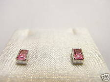 Orecchini argento Cubic Zirconia rosa taglio baguette