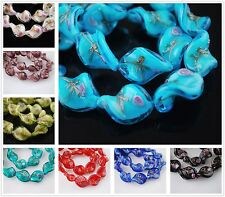 Bulk 12pcs 20x17mm Twist Loose Handmade Lampwork Glass Beads Lots Free Shipping