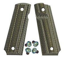 1911 Full Size G10 Grips BlackGreen + Rainbow pattern stainless Torx screws