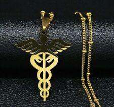 Caduceus Nurse Medical Symbol Doctor Pendant Necklace Amulet Stainless steel