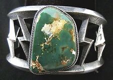 Old Pawn Navajo Silver and Turquoise Bracelet/Cuff SANDCAST Kings Manassa *TB495