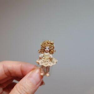 "483 Dollhouse miniature artisan porcelain doll, beige dress, blonde hair,1.25"""