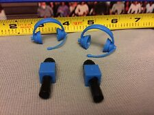 WWE Jakks Lot 4 Accessories figures Microphones Headset Announcer Head Sets Blue