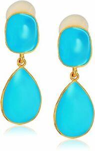 Kenneth Jay Lane Gold Turquoise Blue Drop Pierced Earrings
