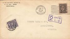 #196 Montreal, Quebec 1933 Cover With 2 Cent Canada Postage Due (tied). Medallio