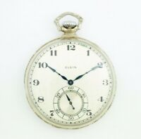 Elgin 12 Size 17 Jewels Open Face Arabic Dial White Gold Clad Pocket Watch