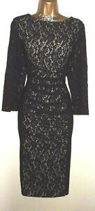 💝BEAUTIFUL PHASE EIGHT BLACK/LACE ILLUSION STYLE EVENING COCKTAIL DRESS UK 16