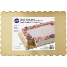 Wilton 3pk Gold Scalloped Greaseproof Cake Decorating Board Platters 13 x 19 in