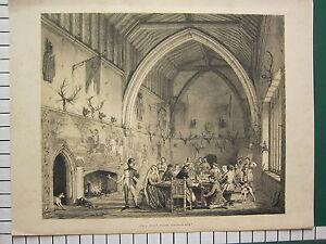 C1840 Large Antique Imprimé ~ Ightham Kent ~ Intérieur De Hall Douves Maison