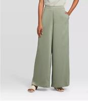 Women's Mid-Rise Silky Wide Leg Pants - Prologue - Green - M/XL - C507