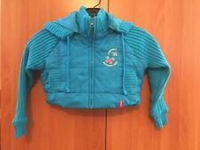 Girls Jacket Blue Short Coat With Long Sleeves & Removable Hood Size 4