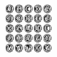 Charm Bracelets Real 925 Sterling Silver Alphabet Letter A to Z Womens gifts New