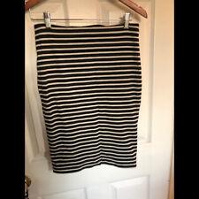 H&M Basic knit stretch black white striped pencil skirt M