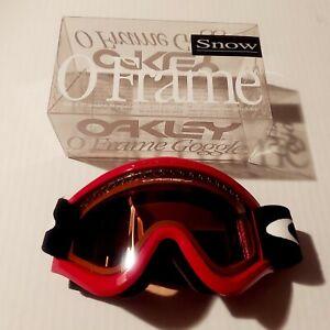 Vintage Oakley O-Frame Ski Snowboard Winter Goggles Red Frame Orange Lens EUC