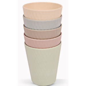 FabFinds 100% Bamboo Melamine Tumbler Glasses Water Reusable Party Cups (11X9)