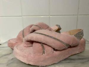 Ex-Display Public Desire Baygirl Diamanté Slippers Baby Pink Women's UK Size 6