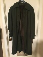 Vintage Green Loden Frey Winter Dress Coat Fur-Lined Size L/XL