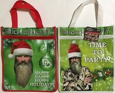 New Set 2 X DUCK DYNASTY Reusable Eco Bags With Zipper - Holiday Shopping Bag