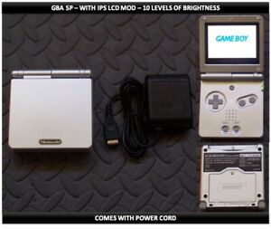 Nintendo Game Boy Advance GBA SP IPS MOD System 10 Level Brightness - Silver