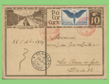 Switzerland 1929 up rated postcard with 75c airmail and Zeppelin cancels in red