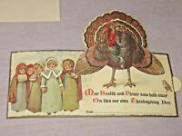 Shackman Vintage Style Thanksgiving Card Little Victorian Girls & Pop Up Turkey
