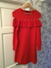 Karen Millen Womens Red Jumper Dress Size 10 Small Long Sleeves