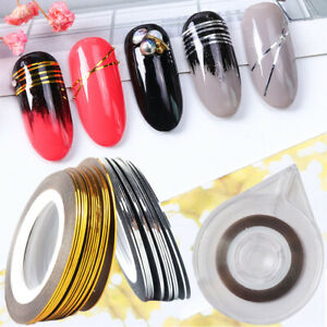 1mm Gold Silver Striping Line Sticker Holographic 3D Strips Tape Nail Decoration