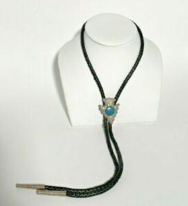 Vintage  Silver Tone Arrowhead Shape Blue Stone Bolo Tie Western