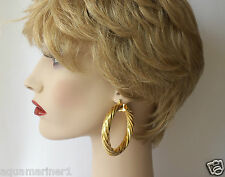 Large Gold Plated Twisted Hoop Earrings 60mm x 8mm.