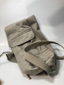 Gaiam Khaki Beige Cargo Pocket Yoga Mat Bag Pockets Drawstring Top Harness Strap