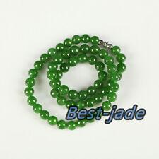High Quality Apple Green Nephrite Jade necklace NZ Jade 8mm MAORI POUNAMU BeadS