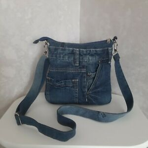 Denim crossbody purse, Casual small pouch of shabby jeans, Jean shoulder bag