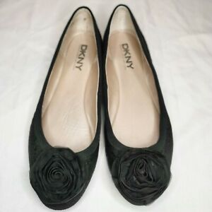 DKNY Black Ballet Flats Flower Embellished Toes Textured Leather Flats Sz 10