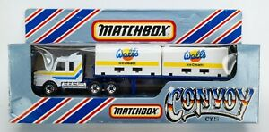 1983 Matchbox Convoy CY18 Scania Double Container Truck WHITE / WALL'S ICE CREAM