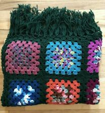 Afgan Granny Square Crochet Multi Color Squares Hunter Green Trim Handmade 38x59
