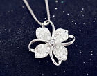 Clover Crystal Pendant 925 Sterling Silver Chain Necklace Women Ladies Jewellery