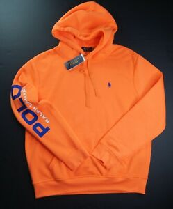 POLO RALPH LAUREN Men's Orange Logo Sleeve Soft Fleece Pullover Hoodie NEW NWT