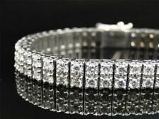 Men's Solid White Gold 2 Row Genuine 8 MM VS Diamond Bracelet Bangle 13.8 Ct