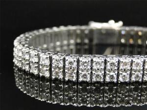 14K WHITE GOLD FINISH TWO ROW GENUINE 13.8 CARAT VVS1/D DIAMOND BANGLE BRACELET