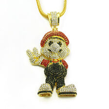 Floody Iced Cartoon Mario Necklace Bling Alloy Rapper Dancer Jewelry Gift