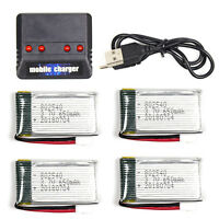 4PCS 3.7V 650mAh Lipo Battery with 4 in 1 Charger For Syma X5C-1 X5SW Drone