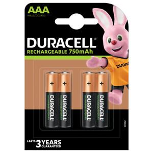 4 batterie MINISTILO AAA RICARICABILI DURACELL 750 mAh duralock HR03 DC2400 pile