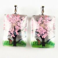 2Pcs 15.4g Delicate Crystal Glass Pink Dried Flower Oblong Pendant Bead W458GH