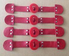4x RED Leather, Red ROUND Toggle Button, Duffle Coat Jacket Fasteners