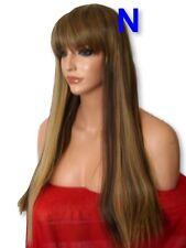 Womens Brown Blonde Highlight Fashion LONG sleek Straight real Natural Wig N25